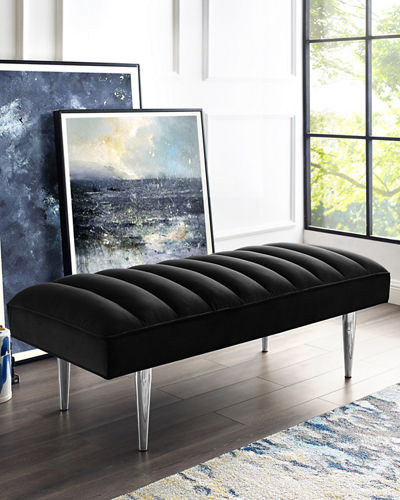 Channel-Quilted Velvet Bench