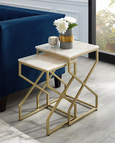 Marble Nesting End Tables  Set of 2