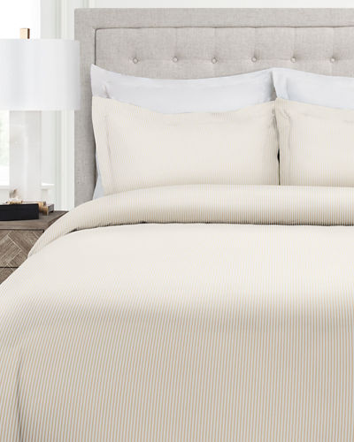 Italian 3-Piece Pinstripe King Duvet Cover Set