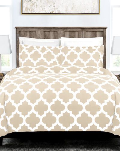 Italian 3-Piece Quatrefoil King Duvet Cover Set