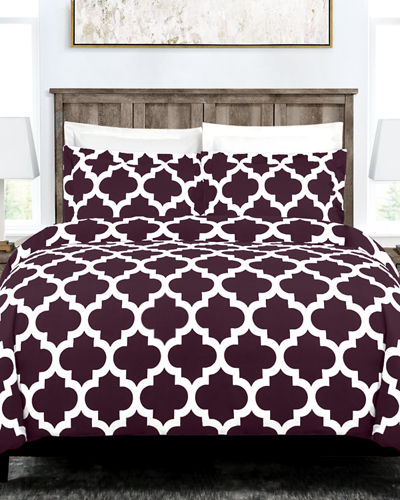 Italian 2-Piece Quatrefoil Twin Duvet Cover Set