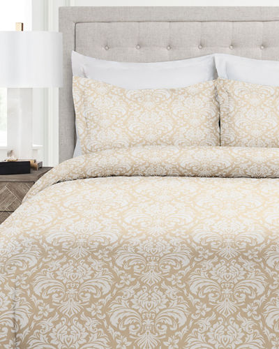 Italian 3-Piece Damask Queen Duvet Cover Set