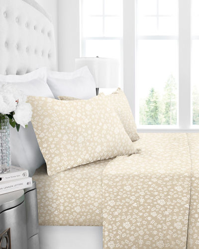 Italian 4-Piece Floral King Sheet Set