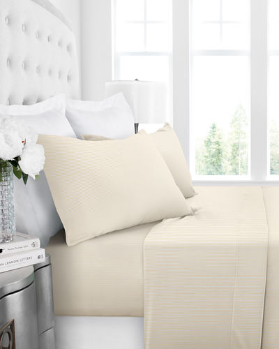 Italian 4-Piece Pinstripe California King Sheet Set