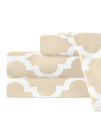 Italian 4-Piece Quatrefoil King Sheet Set