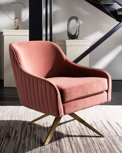 Leyla Velvet Swivel Accent Chair