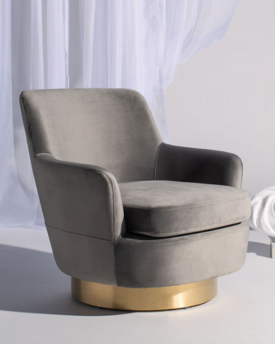 Pyrite Velvet Swivel Accent Chair