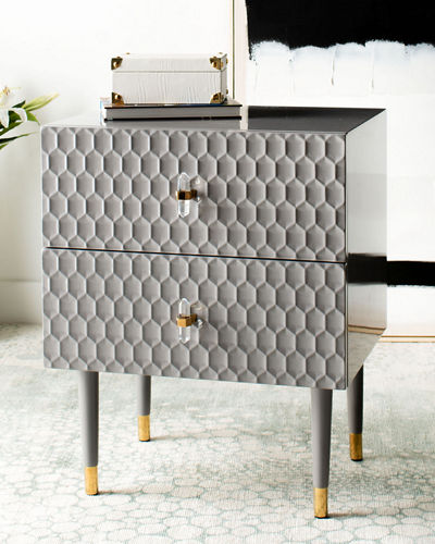 Neptune 2-Drawer Textured Side Table