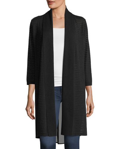Chiffon-Back Long Cardigan