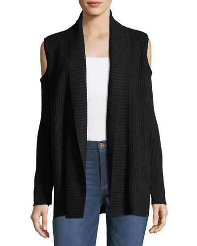 Cold-Shoulder Knit Cardigan