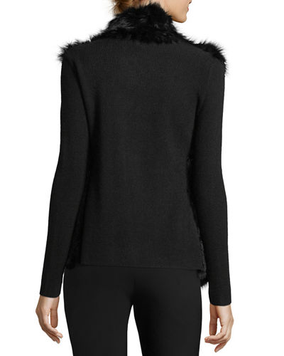 Fur Open-Front Cardigan