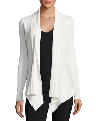 VERVE Stitch-Detail Open-Front Cardigan in Ivory