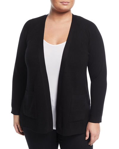 Waffle-Knit Open-Front Cardigan, Plus Size