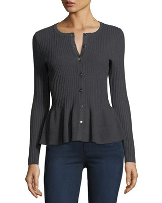 RIBBED PEPLUM CARDIGAN