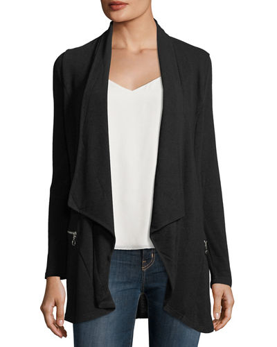 Drape-Front Zip-Pocket Cardigan