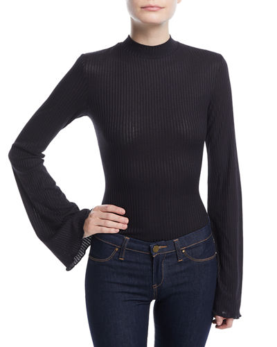 Bell-Sleeve Mock-Neck Bodysuit