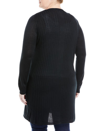 Long Open-Front Cardigan, Plus Size