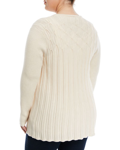 Ribbed Knit Cardigan, Plus