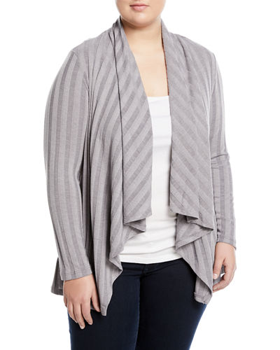 Simone Rib-Knit Cardigan, Plus Size