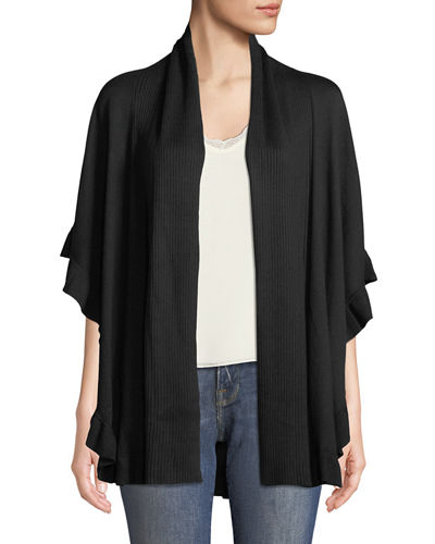 Ruffle-Trimmed Cape Cardigan