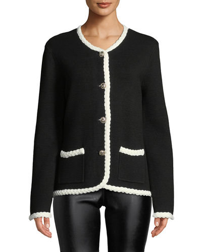 Button-Front Braided-Trim Cardigan