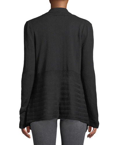 Mixed-Ribbed Open-Front Cardigan