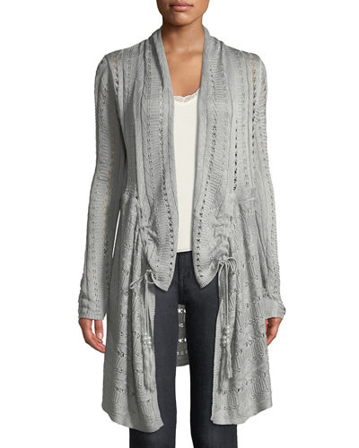 Open-Stitch Ruched Duster Cardigan