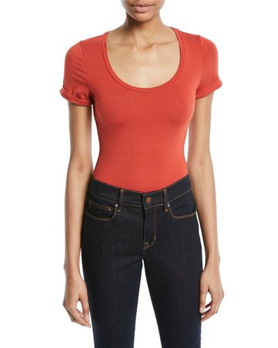 Cuffed-Tee Scoop-Neck Bodysuit