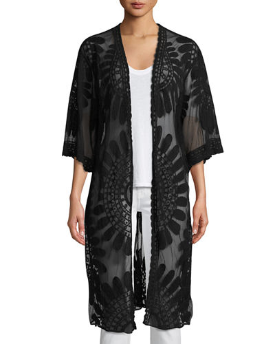 Long Embroidered Lace Duster