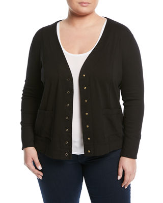 THREE DOTS PLUS Snap-Front Jersey Cardigan, Plus Size in Black