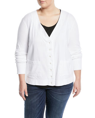THREE DOTS PLUS Snap-Front Jersey Cardigan, Plus Size in White