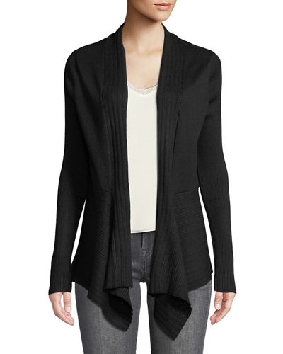 Multi-Ribbed Open-Front Cardigan