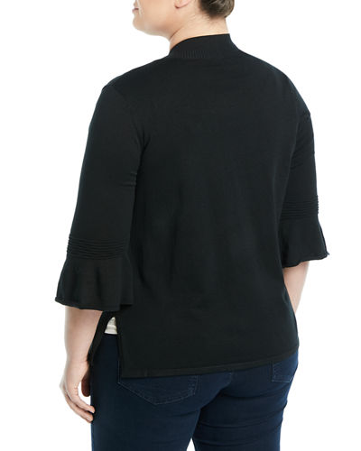 3/4-Bell Sleeve Open Front Cardigan, Plus Size