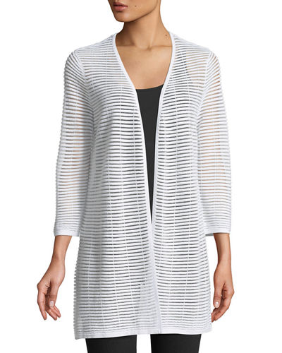 3/4-Sleeve Sheer-Striped Duster Cardigan
