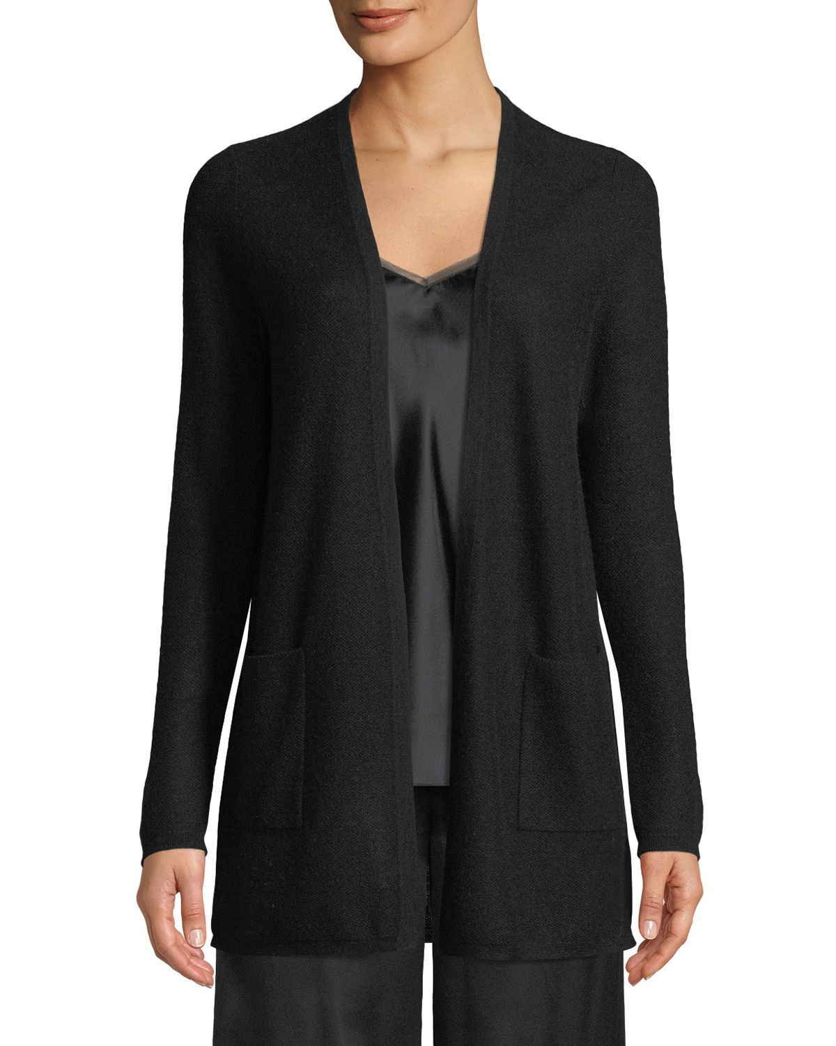 Neiman Marcus Knits CASHMERE WAFFLE-KNIT OPEN-FRONT CARDIGAN