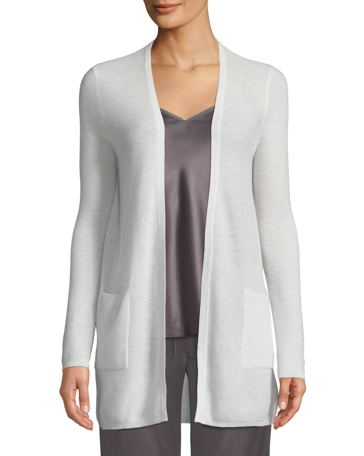 Cashmere Waffle Knit Open Front Cardigan