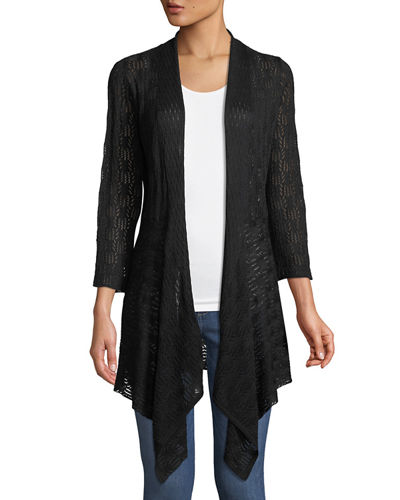 3/4 Bell-Sleeve Draped Lace Cardigan
