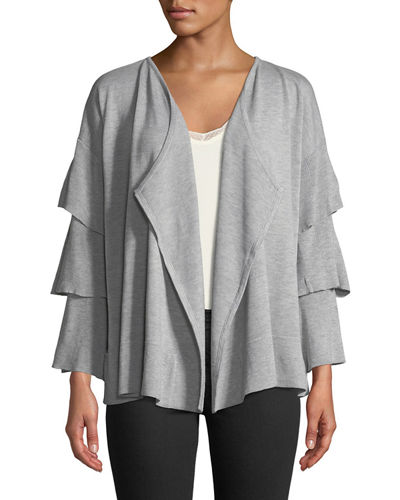 Tiered-Sleeve Open-Front Cardigan