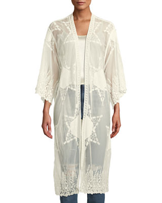 RAJ Embroidered Lace Kimono in Cream