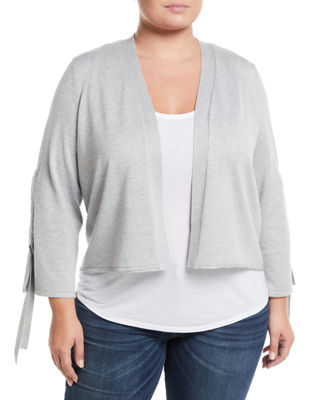 VERVE Tunnel-Tie-Sleeve Cardigan, Plus Size in Gray