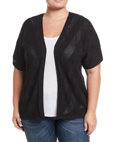 Dolman-Sleeve Pointelle Cardigan, Plus Size