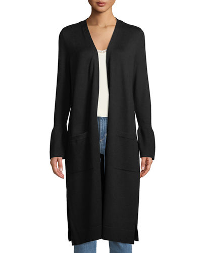 Open-Front Bell-Cuff Duster Cardigan