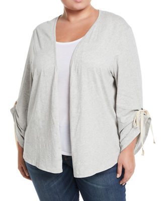 BOBEAU PLUS Nia Ruched-Sleeve Open-Front Cardigan, Plus Size in Gray