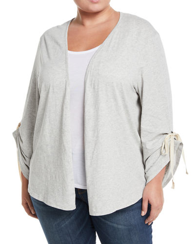 Nia Ruched-Sleeve Open-Front Cardigan  Plus Size