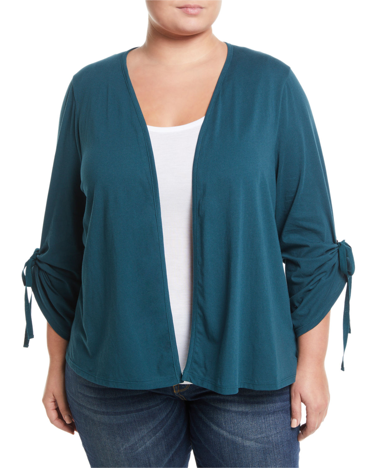 Nia Ruched-Sleeve Open-Front Cardigan, Plus Size