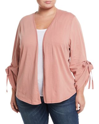 BOBEAU PLUS Nia Ruched-Sleeve Open-Front Cardigan, Plus Size in Dark Gray