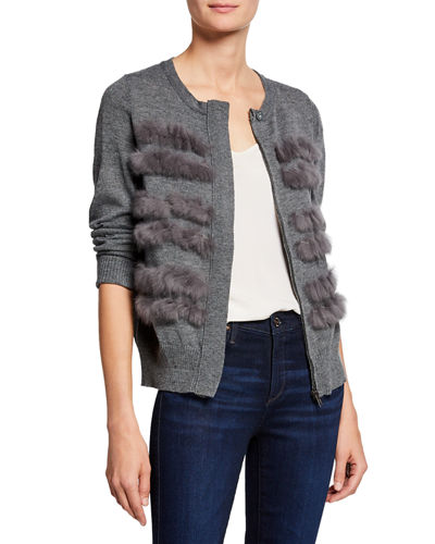 Faux-Fur Zip-Up Cardigan