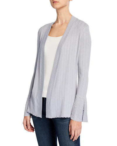 Pearly-Trim Bell-Sleeve Cardigan