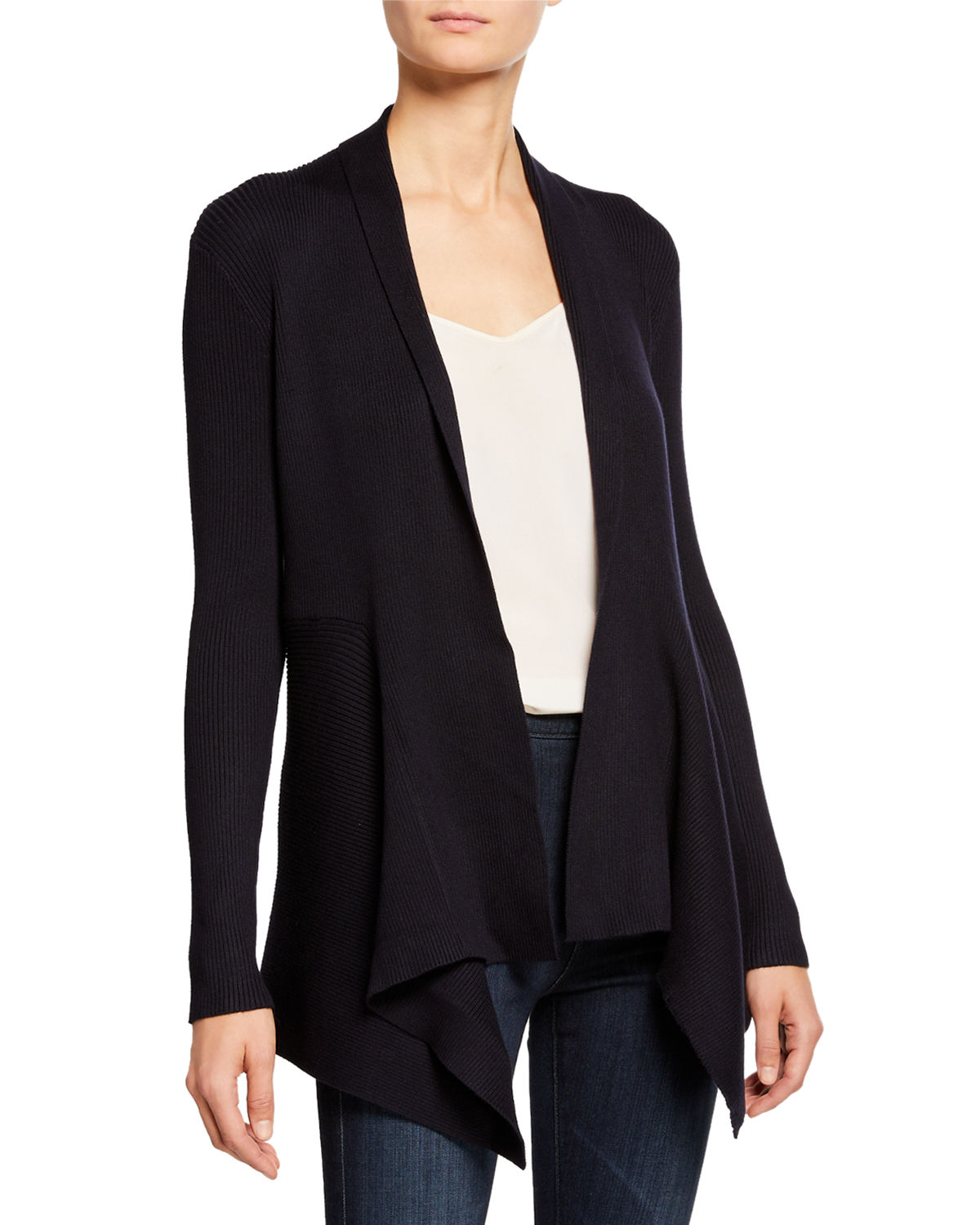 Carmen Marc Valvo RIBBED SOLID OPEN-FRONT CARDIGAN