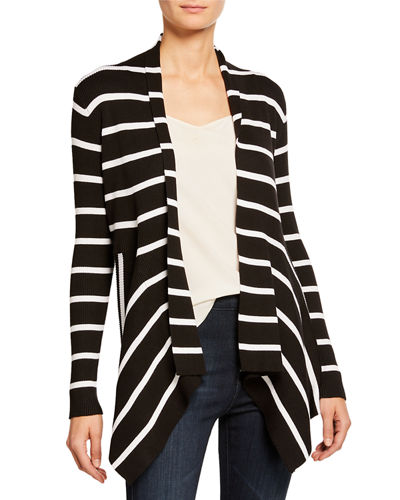 Ribbed Stripe Open-Front Cardigan